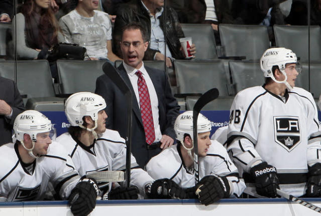 TORONTO, CANADA - DECEMBER 19: Interim Head Coach John Stevens of the Los Angeles Kings yells to his team during NHL action against the Toronto Maple Leafs at The Air Canada Centre December 19, 2011 in Toronto, Ontario, Canada. (Photo by Abelimages/Getty Images)