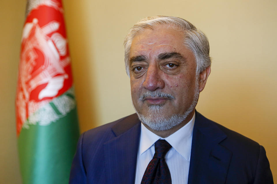 Abdullah Abdullah, head of Afghanistan's National Reconciliation Council, talks to The Associated Press following an interview on the sidelines of a diplomatic forum in Antalya, Turkey, Friday, June 18, 2021. Abdullah expressed concerns hat the Taliban will have no interest in a political settlement with the U.S.-supported government in Kabul following the departure of U.S. and NATO forces. By Sept. 11 at the latest, around 2,300-3,500 remaining U.S. troops and roughly 7,000 allied NATO forces are scheduled to leave Afghanistan,, ending nearly 20 years of military engagement. (AP Photo/Mehmet Guzel)