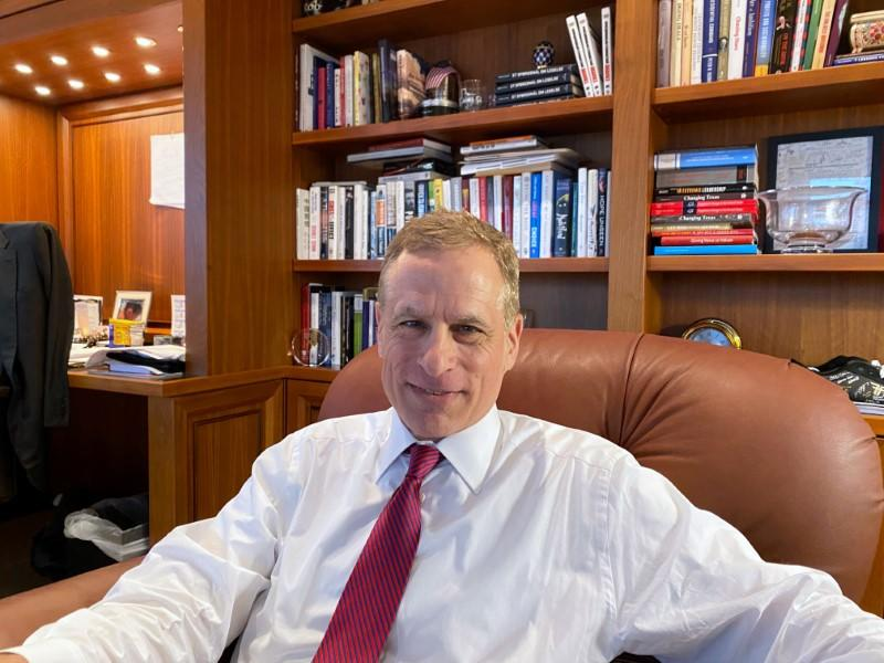 Dallas Federal Reserve Bank President Robert Kaplan speaks during an interview in his office at the bank's headquarters in Dallas