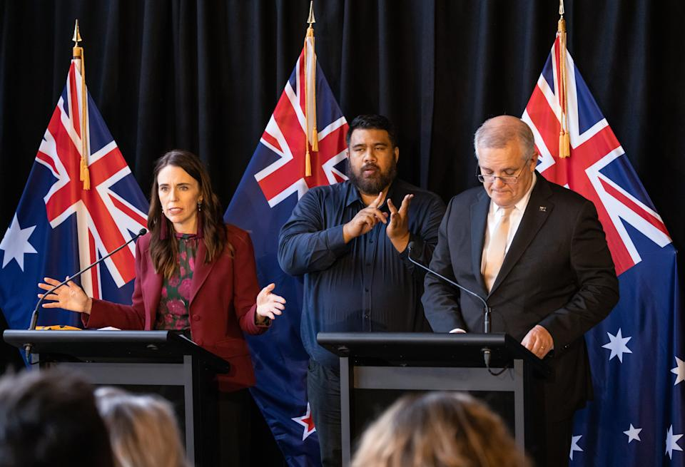 New Zealand Prime Minister Jacinda Ardern and Australian Prime Minister Scott Morrison speak during a joint press conference held at The Nest in Queenstown, New Zealand, Monday, May 31, 2021