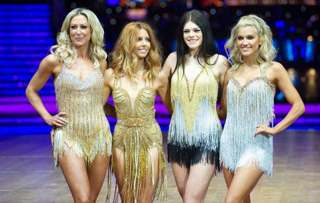 Faye with fellow contestants Stacey Dooley, Lauren Steadman and Ashley Roberts (Photo: Katja Ogrin via Getty Images)