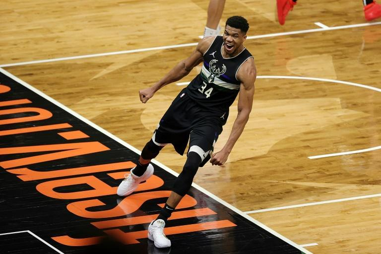 Milwaukee's Giannis Antetokounmpo celebrates a late score in the Bucks' 105-100 NBA victory over the Los Angeles Clippers.