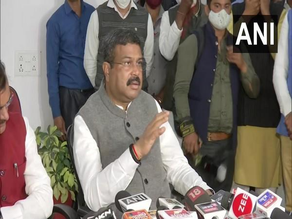 Union Minister Dharmendra Pradhan speaking to media in Betul on Monday (Photo/ANI)