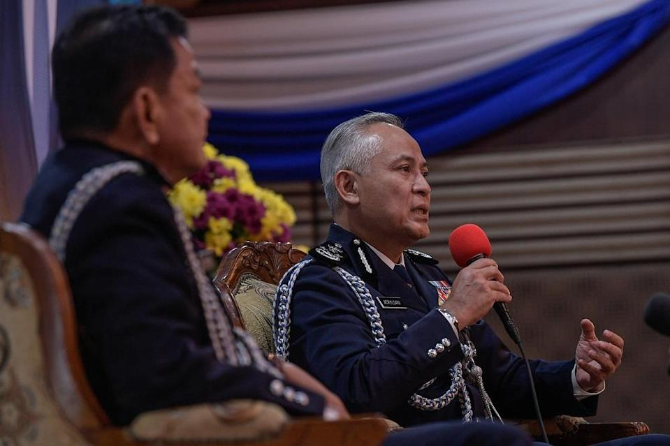 Datuk Seri Acryl Sani Abdullah Sani (right) was officially appointed as Inspector-General of Police yesterday. ― Bernama pic