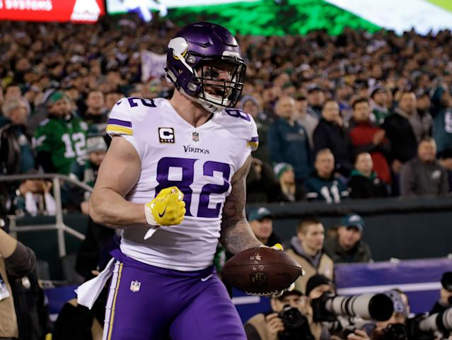 Minnesota Vikings' Kyle Rudolph said he will not take a pay cut. (AP)