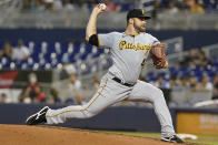 Pittsburgh Pirates starting pitcher Bryse Wilson throws during the second inning of the team's baseball game against the Miami Marlins, Saturday, Sept. 18, 2021, in Miami. (AP Photo/Marta Lavandier)