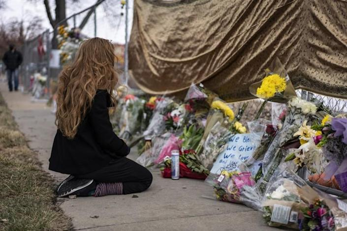 Boulder, Colorado-March 22: On Monday, March 23, 2021, in Boulder, Colorado, mourners visit where gunmen fired at a grocery store in King Super. The attack killed 10 people.  (Photo by Chet Strange / Getty Images)