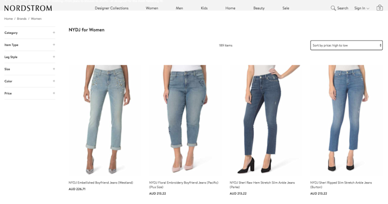 Not Your Daughter's Jeans retail for over $200 on the site. Photo: shop.nordstrom.com