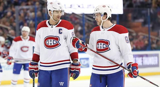 """<a class=""""link rapid-noclick-resp"""" href=""""/nhl/players/4261/"""" data-ylk=""""slk:Max Pacioretty"""">Max Pacioretty</a> and <a class=""""link rapid-noclick-resp"""" href=""""/nhl/players/5982/"""" data-ylk=""""slk:Jonathan Drouin"""">Jonathan Drouin</a> were symptomatic of the struggles in Montreal. (Getty Images)"""