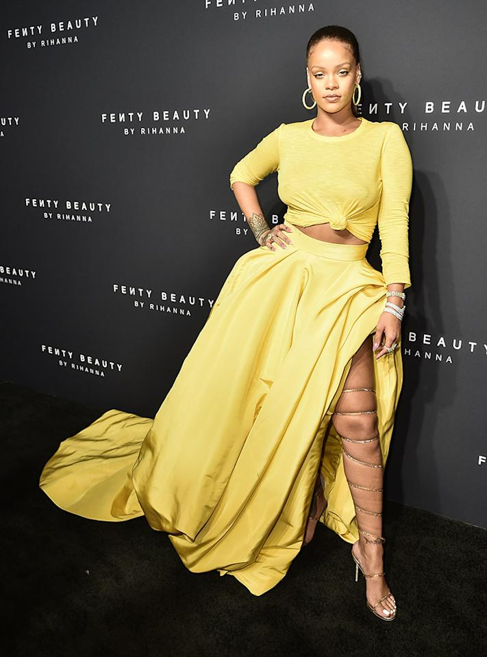<p>Slay! Rihanna made sure all eyes were on her at the launch party for Fenty Beauty by Rihanna in NYC on Thursday. Not only was her makeup on fleek (of course!), but her outfit — from the crop top to those sandals, which snaked all the way up her thigh — was killer. (Photo: Steven Ferdman/Patrick McMullan via Getty Images) </p>