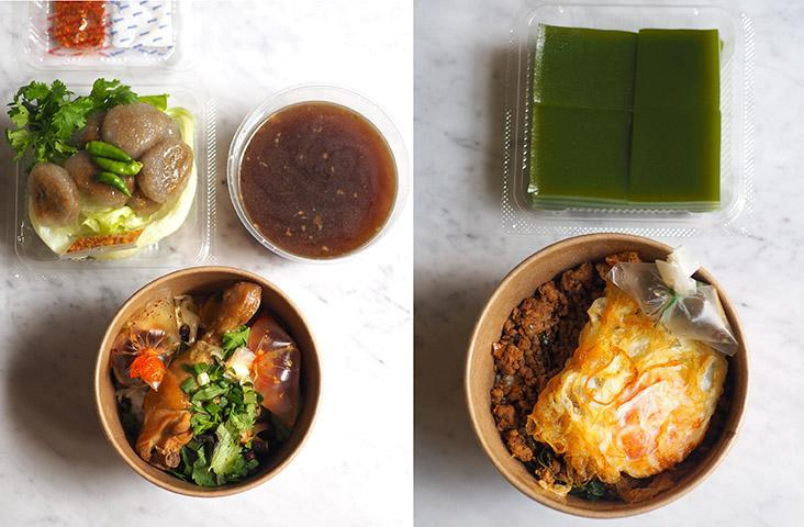 For the noodle dish, just heat up the soup and pour it over the noodles with the various toppings (left). You can also enjoy the' pad krapow' in its takeaway container for food on the go (right)