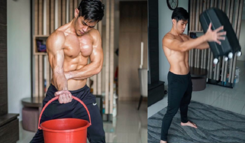 Malaysian influencers even created videos teaching others how to use common household items to workout. ― Picture via Instagram/@jordanyeohfitness