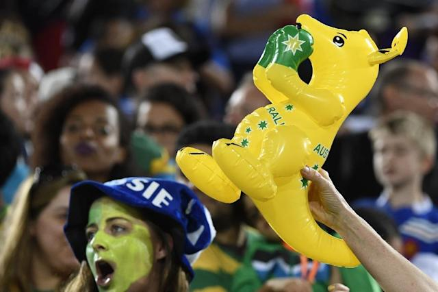 """Nine Australian Olympic athletes """"had tampered credentials"""" to get into the arena at the Olympic Park where Australia was facing Serbia in the basketball late Friday, Rio police said (AFP Photo/John MacDougall)"""