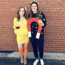 """<p>With a chick to the left and magnet to the right, this couple creates the chick magnet. Hilarious, yes! And an easy DIY costume, too.</p><p><a class=""""link rapid-noclick-resp"""" href=""""https://www.amazon.com/Yellow-Foot-Gram-Feather-Boa/dp/B00498HUQ6/?tag=syn-yahoo-20&ascsubtag=%5Bartid%7C10072.g.27868801%5Bsrc%7Cyahoo-us"""" rel=""""nofollow noopener"""" target=""""_blank"""" data-ylk=""""slk:SHOP BOA"""">SHOP BOA</a></p>"""
