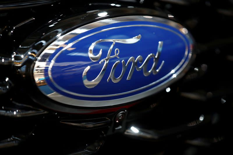 FILE PHOTO: Ford logo is pictured at the 2019 Frankfurt Motor Show (IAA) in Frankfurt