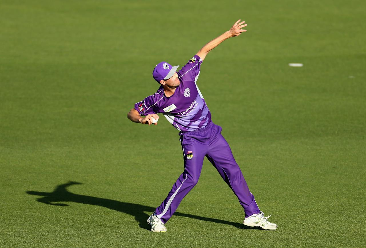 HOBART, AUSTRALIA - DECEMBER 23:  Ben Laughlin of the Hurricanes celebrates after he caught out Chris Gayle of the Thunder during the Big Bash League match between the Hobart Hurricanes and the Sydney Thunder at Blundstone Arena on December 23, 2012 in Hobart, Australia.  (Photo by Robert Cianflone/Getty Images)