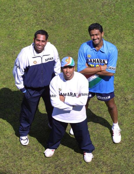 LONDON - JUNE 20:  (L to R) VVS Laxman, Sachin Tendulkar and Anil Kumble of India pose at nets during a training session at Lord's, London on 20 June, 2002. India are preparing for the triangular series against Sri Lanka and England. (Photo by Craig Prentis/Getty Images)