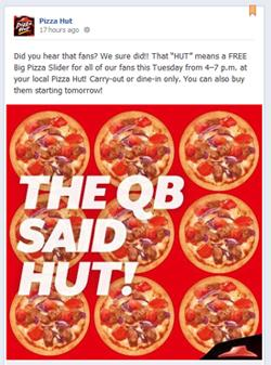 Pizza Hut Sliders: Image from Pizza Hut's Facebook page