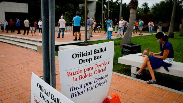 PHOTO: 'Official ballot drop box' signs are seen at Westchester Regional Library in Miami, Florida on October 19, 2020.  (Eva Marie Uzcategui/AFP via Getty Images)