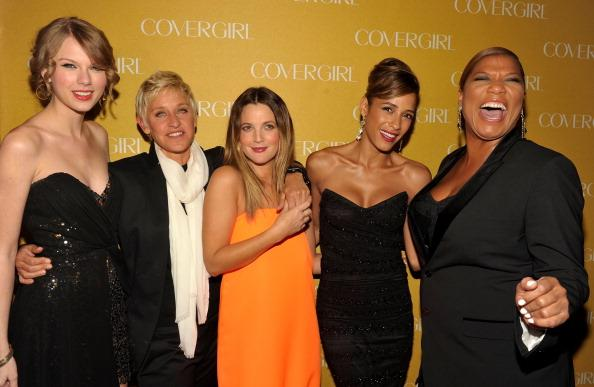 Musician Taylor Swift, TV personality Ellen DeGeneres, and actresses Drew Barrymore, Dania Ramirez and Queen Latifah arrive at COVERGIRL 50th Anniversary Celebration at BOA Steakhouse on January 5, 2011 in West Hollywood, California. (Photo by John Shearer/Getty Images For COVERGIRL)
