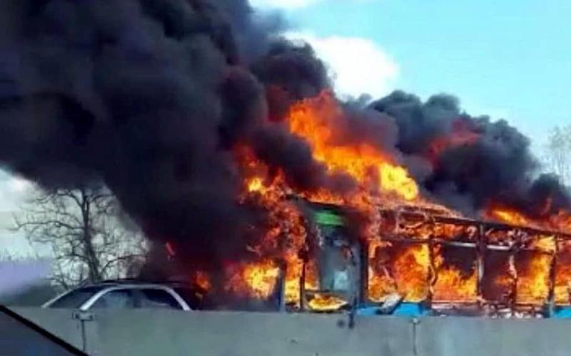 The bus engulfed in flames - Facebook
