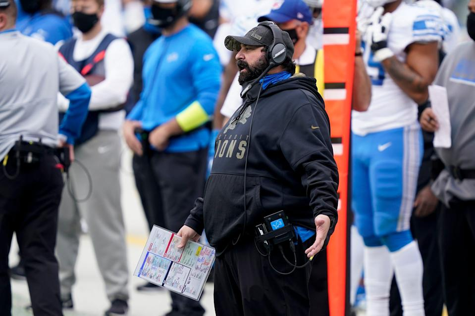 Lions coach Matt Patricia watches during the first half against the Carolina Panthers on Sunday, Nov. 22, 2020, in Charlotte, N.C.