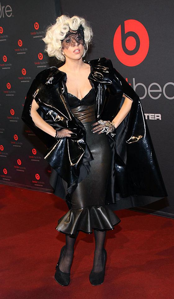 "Lady Gaga took Berlin by storm earlier this week in an outfit fit for a supervillain. The caped crusader paired her veil with a leather frock, matching fishnets, and a whole lot of crazy. Anita Bugge/<a href=""http://www.wireimage.com"" target=""new"">WireImage.com</a> - September 7, 2009"
