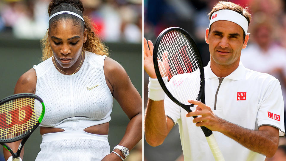 Serena Williams and Roger Federer, pictured here at Wimbledon in 2019.