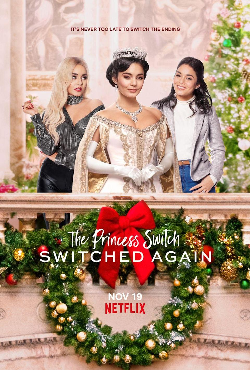 """<p>How do you make a holiday movie about two identical strangers who decide to switch places and fall in love at Christmas even better? Add a third identical stranger(ish), obviously. When soon-to-be Queen Margaret Delacourt (Vanessa Hudgens) needs some support from her closest friend before her coronation, it's back to Belgravia for Princess Stacy (Vanessa Hudgens). But no one warned the doppelgänger duo about Lady Fiona (Vanessa Hudgens), who has a dastardly plot to bring down Margaret—and the holidays.</p><p><a class=""""link rapid-noclick-resp"""" href=""""https://www.netflix.com/title/81084350"""" rel=""""nofollow noopener"""" target=""""_blank"""" data-ylk=""""slk:Watch Now"""">Watch Now</a></p>"""