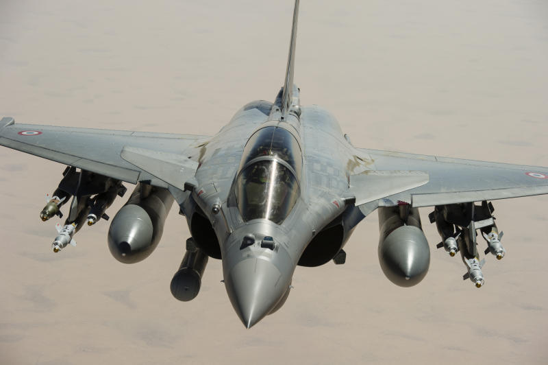 This photo taken Feb. 4, 2013, and released on Feb. 7, 2013, by the French Army Communications Audiovisual office (ECPAD) shows a Rafale jetfighter flying over Mali. Troops from France and Chad moved into Kidal in an effort to secure the strategic north Malian city, a French official said Tuesday, as the international force put further pressure on the Islamic extremists to push them out of their last major bastion of control in the north. (AP Photo/Anthony Jeuland, ECPAD, French Air Force)