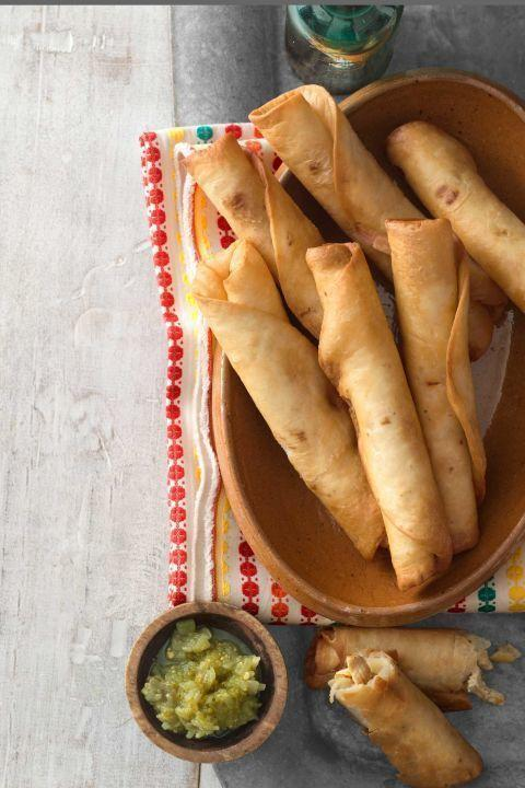"""<p>With only five ingredients, you can celebrate the flavors of Mexico at your dinner table. The salsa is even in the recipe!</p><p><strong><a href=""""https://www.countryliving.com/food-drinks/recipes/a3894/chicken-flautas-recipe-clv0512/"""" rel=""""nofollow noopener"""" target=""""_blank"""" data-ylk=""""slk:Get the recipe"""" class=""""link rapid-noclick-resp"""">Get the recipe</a>.</strong></p>"""