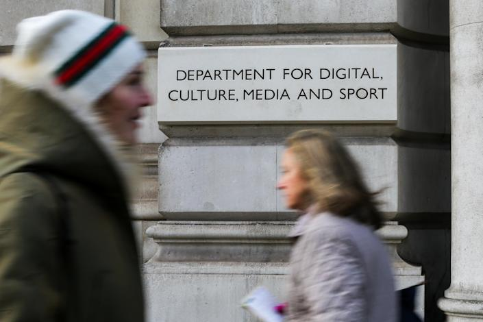 People walk past The Department for Digital, Culture, Media and Sport building on Whitehall in London. (Photo by Dinendra Haria / SOPA Images/Sipa USA)