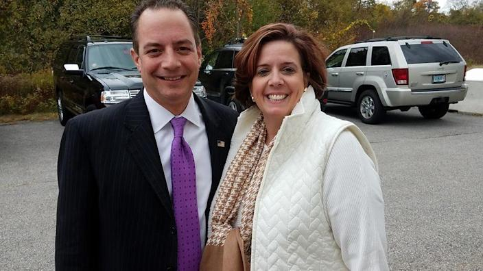 Republican National Committee chair Reince Priebus and New Hampshire Republican Party chair Jennifer Horn in October 2016 in New Hampshire.