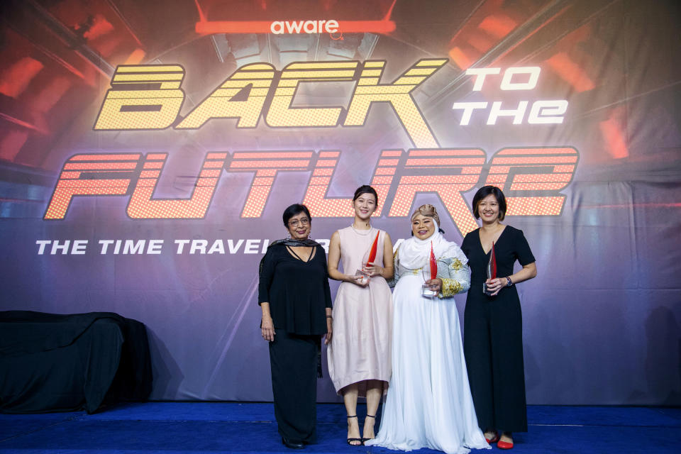 From left to right: AWARE's founding member Dr Kanwaljit Soin, Monica Baey, Liyana Dhamirah and Associate Professor Teo You Yenn at AWARE's annual gala on 2 November, 2019. (PHOTO: Studiokel Photography)