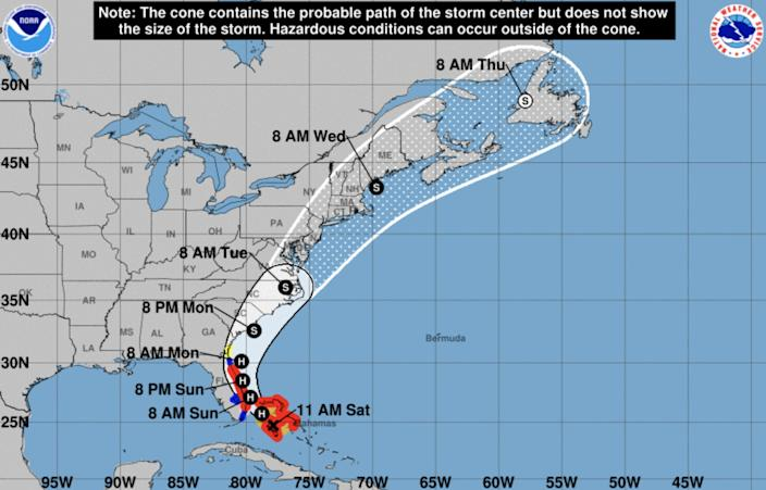 A map from the National Weather Service shows the projected path of Hurricane Isaias.