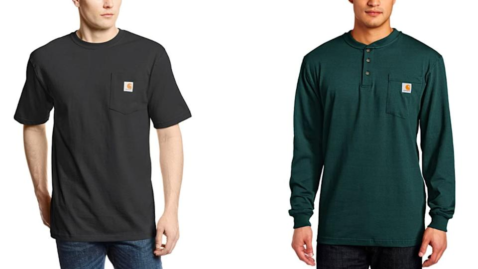 """<a href=""""https://amzn.to/328IQGB"""" target=""""_blank"""" rel=""""noopener noreferrer"""">Carhartt</a> specializes in men's work clothing like T-shirts, coveralls and jackets. They offer sizes S to 5X, as well as tall and extended sizes.<br /><br /> Shop this <a href=""""https://amzn.to/2YihKMb"""" target=""""_blank"""" rel=""""noopener noreferrer"""">Carhartt K87 workwear pocket short-sleeved tee</a> (left) and this <a href=""""https://amzn.to/3laR9KT"""" target=""""_blank"""" rel=""""noopener noreferrer"""">Carhartt Workwear pocket long-sleeved henley</a>(right) on Amazon.<br /><br /><a href=""""https://amzn.to/328IQGB"""" target=""""_blank"""" rel=""""noopener noreferrer"""">Shop more from Carhartt on Amazon.</a>"""