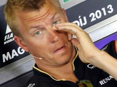 Kimi Raikkonen attends a news conference at the Hungaroring circuit in Mogyorod, near Budapest, July 25, 2013.