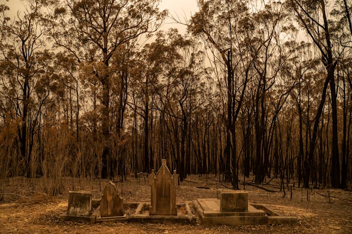 A cemetery recently hit by bushfires near Mogo, New South Wales, on Jan. 5.   Adam Ferguson for TIME