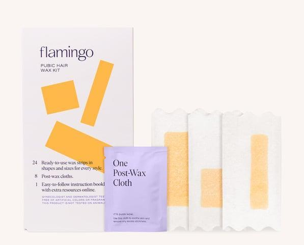 """<p>Gentle yet effective, the <span>Flamingo Pubic Hair Wax Kit</span> ($10) makes waxing at home about as easy as it gets. The proof? After a few glasses of wine, one of our editors somehow managed to convince her partner to help her <a class=""""link rapid-noclick-resp"""" href=""""https://www.popsugar.com/latest/DIY"""" rel=""""nofollow noopener"""" target=""""_blank"""" data-ylk=""""slk:DIY"""">DIY</a> the process, and - despite having zero waxing experience and impaired hand-eye coordination - even she pulled it off with aplomb. It grips the hair nicely so you only need to yank the strip once per section.</p>"""