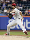 Philadelphia Phillies' Aaron Nola delivers a pitch during the first inning in the second game of a baseball doubleheader against the New York Mets Monday, July 9, 2018, in New York. (AP Photo/Frank Franklin II)
