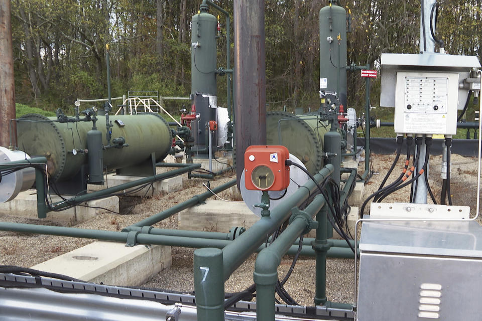 An XTO Energy natural gas fracking well pad is seen in Freeport, Pennsylvania, on Thursday, October 15, 2020. President Trump accuses Joe Biden of wanting to ban fracking, a sensitive topic in the No. 2 natural gas state behind Texas. Biden insists he does not want to ban fracking broadly - he wants to ban it on federal lands and make electricity production fossil-fuel free by 2035. (AP Photo/Ted Shaffrey)