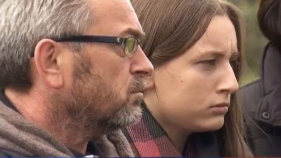 Borce is seen with his daughter Sarah during a media press conference. Photo: 7 News
