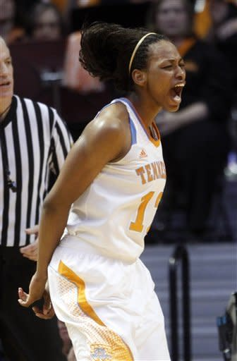 Tennessee forward Bashaara Graves (12) reacts after making a basket during the second half of an NCAA college basketball game against Georgia, Sunday, Jan. 6, 2013, in Knoxville, Tenn. Tennessee won 79-66. (AP Photo/Wade Payne)