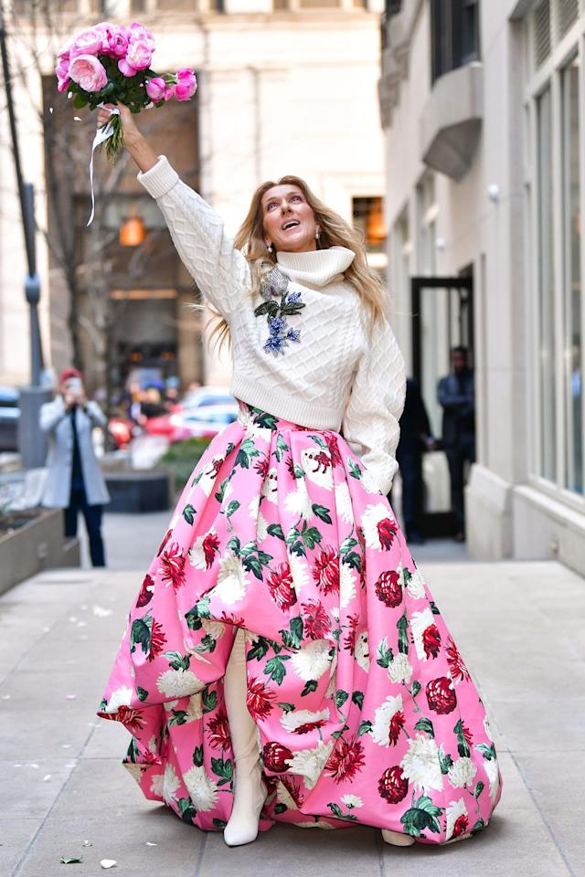 <p>Who: Celine Dion </p><p>When: March 8, 2020 </p><p>Wearing: Oscar de la Renta</p><p>Why: Given reality's current situation, we really needed Celine Dion running around Manhattan in an ginormous floral skirt with a matching bouquet of roses. She's doing god's work, thus winning her best dressed of the week. </p>