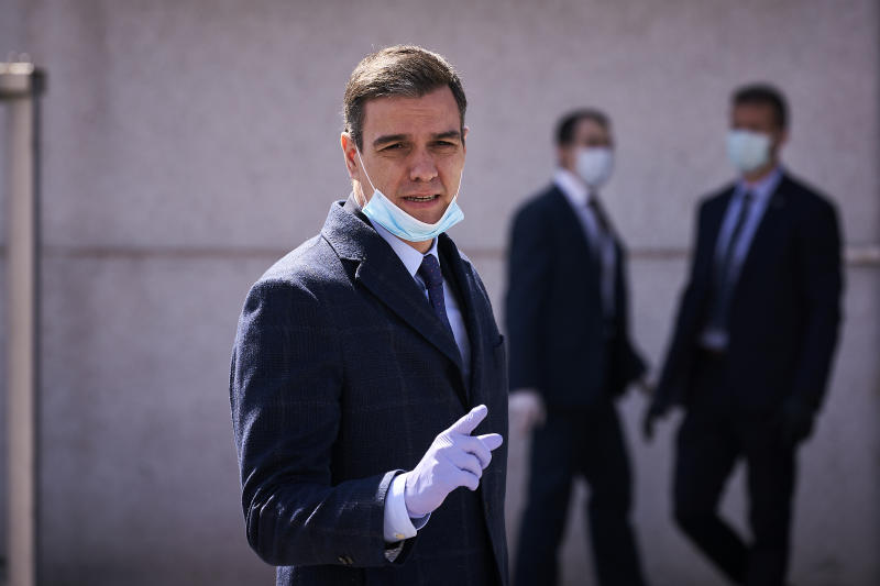 Prime Minister, Pedro Sanchez wearing a face mask as a preventive measure, during his visit to Hersill, a Manufacture and Distributor of Medical Supplies, during the corona virus pandemic. (Photo by Legan P. Mace / SOPA Images/Sipa USA)