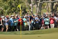 Phil Mickelson plays the seventh hole before a bevy of fans on the way to victory in the 2021 PGA Championship
