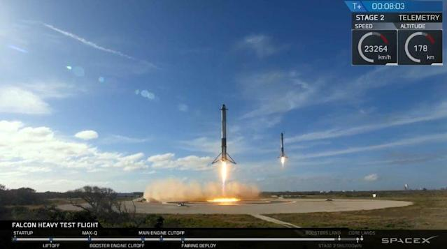 SpaceX lands two of the three Falcon 9 boosters attached to the Falcon Heavy rocket at Cape Canaveral.