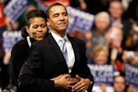 <p>In 2008, when he was still just a presidential hopeful, a proud Michelle hugged her husband on the campaign trail. </p>