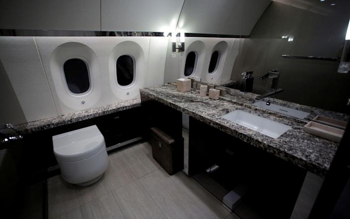 A bathroom of the Mexican Air Force Presidential Boeing 787-8 Dreamliner