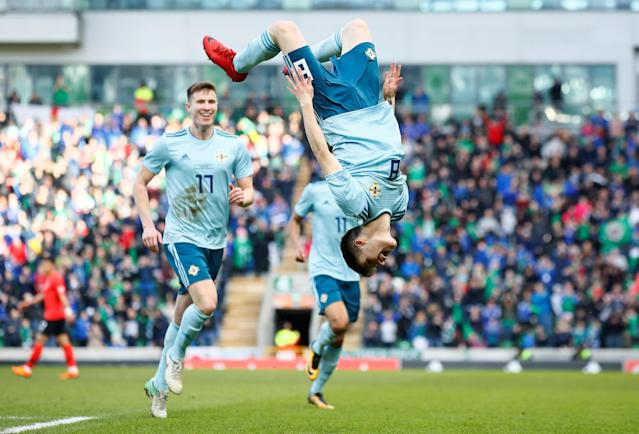 Soccer Football - International Friendly - Northern Ireland vs South Korea - National Football Stadium at Windsor Park, Belfast, Britain - March 24, 2018 Northern Ireland's Paul Smyth celebrates scoring their second goal Action Images via Reuters/Jason Cairnduff TPX IMAGES OF THE DAY